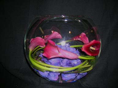 red cala lilies wrapped inside a glass bowl
