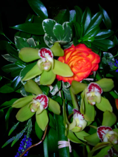 orchids with painted rose and greenery